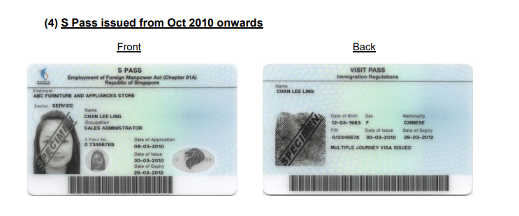 S Pass Example Visa Singapore